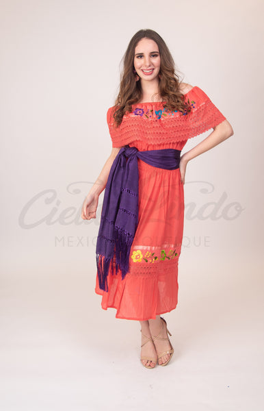 Mexican Campesina Dress Coral - Cielito Lindo