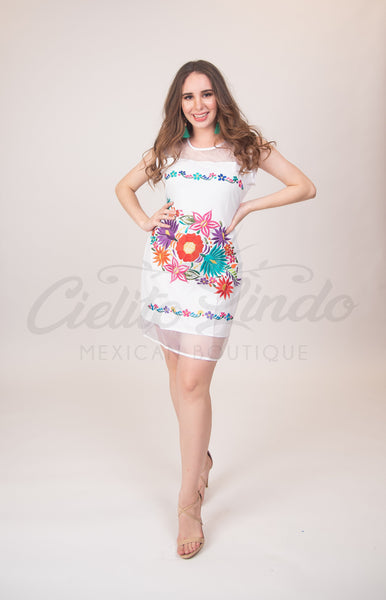Dress Teresa Embroidered Mexican Dress White