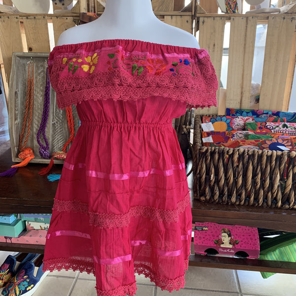 Girls 1 Mexican Campesino Dress for Girls Pink