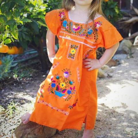 Mexican Dress for Girls Orange - Cielito Lindo