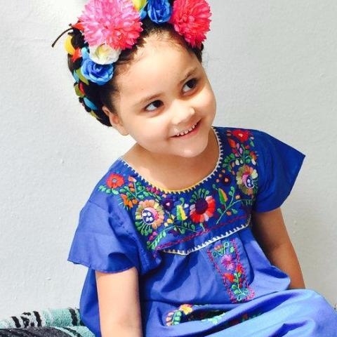 Mexican Dress for Girls Royal Blue - Cielito Lindo