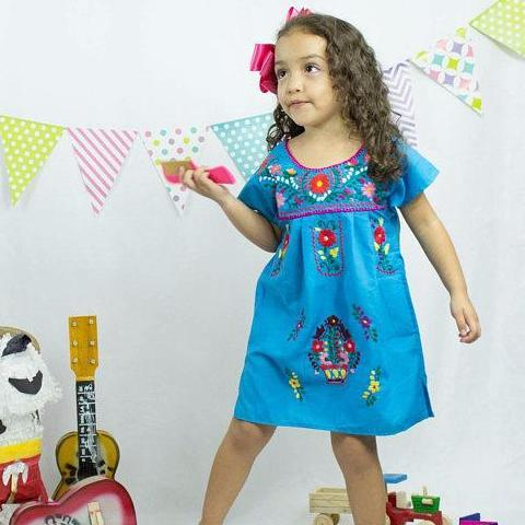 Mexican Dress for Girls Turquoise - Cielito Lindo