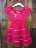 Girls 12 Mexican Campesino Dress for Girls Pink