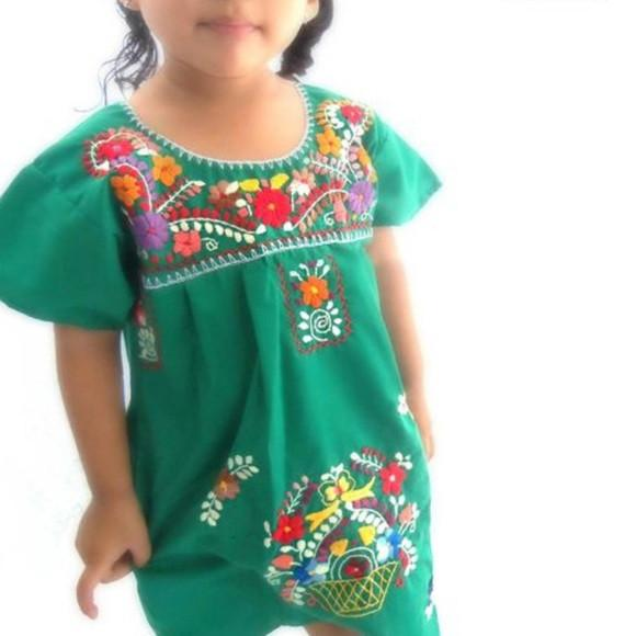 Mexican Dress for Girls Green - Cielito Lindo