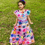 "Girls 2 Strips / 10"" Skirt Mexican Chiapaneca Dress for Girls White"