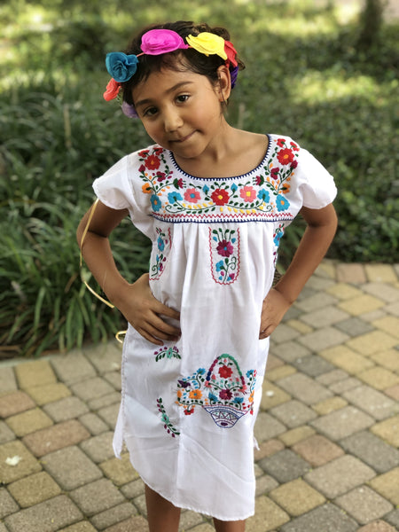 Mexican Dress for Girls White - Cielito Lindo