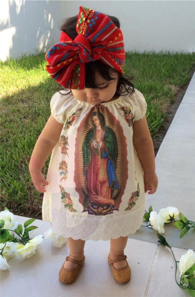 Girls Dress 0-3 Months Mexican Printed Lady of Guadalupe Girls Dress and Headband Set