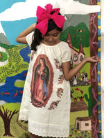 Girls Dress 5-6 Years Mexican Printed Lady of Guadalupe Girls Dress and Headband Set
