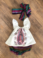 Girls Dress 9-12 Months Bloomer Set Mexican Printed Lady of Guadalupe Girls Dress and Headband Set