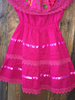 Girls Mexican Campesino Dress for Girls Pink