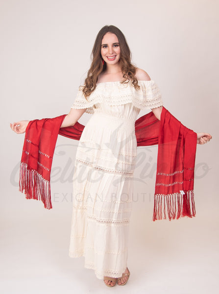 Adalia Dress Cream - Cielito Lindo Mexican Boutique