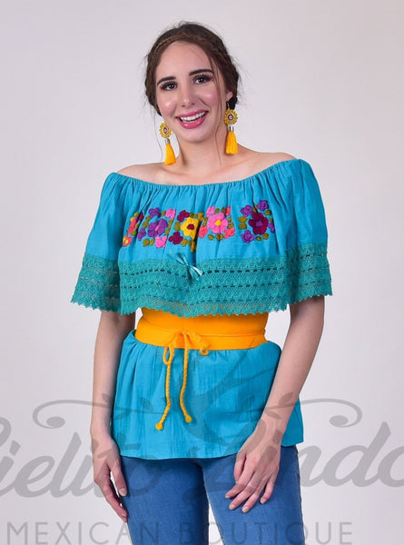 Campesina Teal Embroidered Top - Cielito Lindo Mexican Boutique
