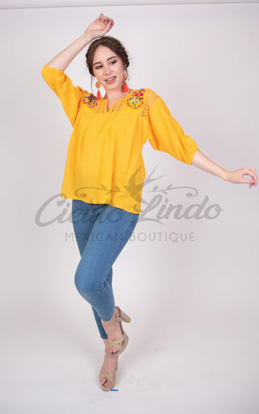 Española Blouse Yellow with Floral Embroidery - Cielito Lindo Mexican Boutique