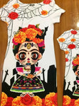 Mexican Printed Dress Bodycon Day of the Dead Frida - Cielito Lindo