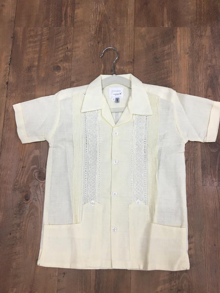 Boys Guayabera Fine Linen yellow - Cielito Lindo Mexican Boutique