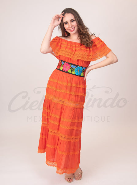 Adalia Dress Orange - Cielito Lindo Mexican Boutique