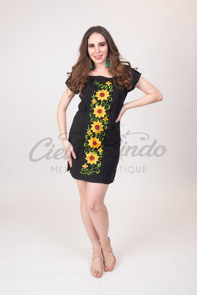 Black Sunflowers Dress - Cielito Lindo Mexican Boutique