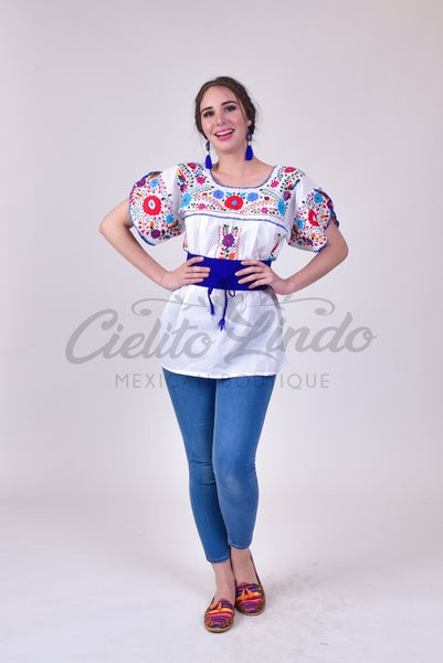 Butterfly Embroidered Top White - Cielito Lindo Mexican Boutique