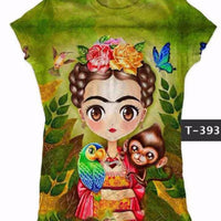 Frida Kahlo with Monkey Graphic Tee Shirt - Cielito Lindo Mexican Boutique