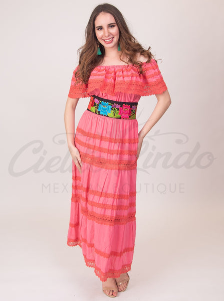 Adalia Dress Coral - Cielito Lindo Mexican Boutique