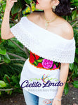 Mexican Campesina Top  with Floral Belt - Cielito Lindo Mexican Boutique