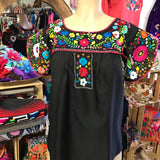 Butterfly Embroidered Top Black - Cielito Lindo Mexican Boutique