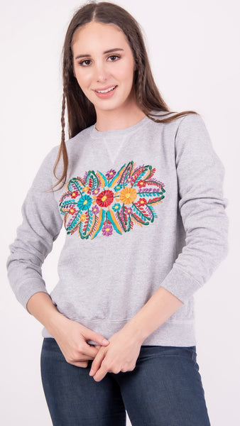 Floral Embroidered Sweatshirt Grey