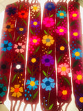Floral Belt Handmade Dark Red - Cielito Lindo Mexican Boutique