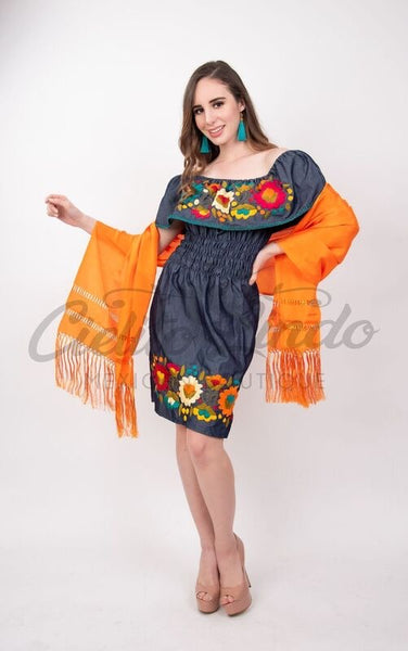Denim Campesino Embroidered Mini Dress - Cielito Lindo Mexican Boutique