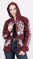 Mexican Floral Embroidered Zippered Hoodie Texas A&M Aggies Style