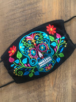 Floral Sugar Skull Face Mask - Cielito Lindo Mexican Boutique