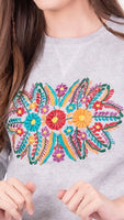 Mexican Floral Embroidered Sweatshirt Grey