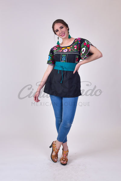 Butterfly Mexican Floral Embroidered Top Black - Cielito Lindo