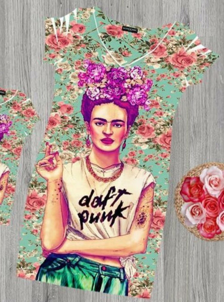 Frida Kahlo Daft Punk Bodycon Mini Dress - Cielito Lindo Mexican Boutique