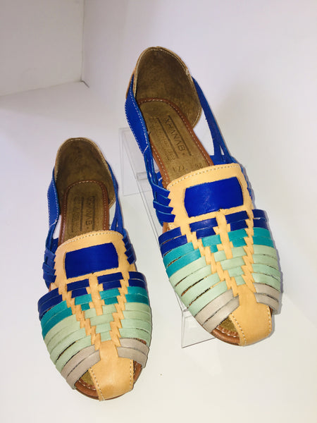 Azules Electra Leather Sandals - Cielito Lindo Mexican Boutique