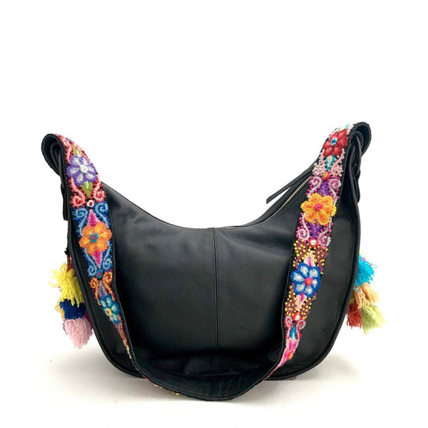 Shoulder Bag with Floral Embroidery Black