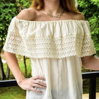 Mexican Campesina Top Off-Shoulder Cream - Cielito Lindo Mexican Boutique