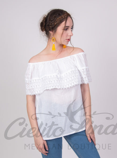 Mexican Campesina Top White Off-Shoulder - Cielito Lindo Mexican Boutique