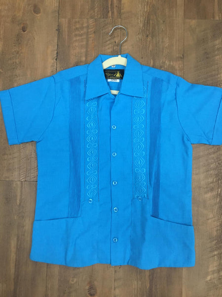 Copy of Boys Guayabera Fine Linen Turquoise - Cielito Lindo Mexican Boutique