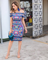 Fiesta Dress Blue Printed - Cielito Lindo Mexican Boutique