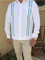 Mens Mexican Guayabera for Men Black Fine Embroidered Linen Long Sleeve Shirt