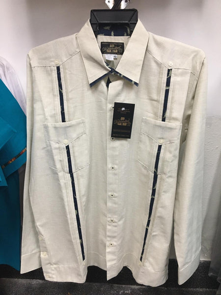 Mens Mexican Guayabera for Men Fine Embroidered Linen Long Sleeve Shirt