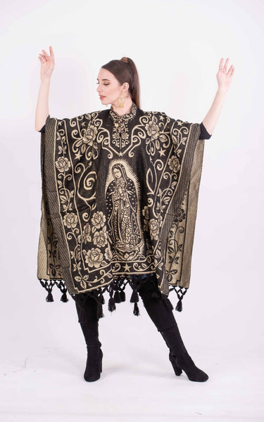 Poncho Black / Beige Our Lady of Guadalupe Shimmering Poncho