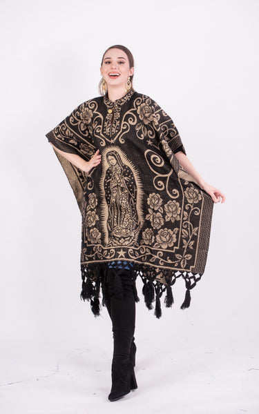 Poncho Black / Cream Our Lady of Guadalupe Shimmering Poncho