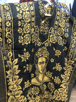Poncho Black / Gold Mexican Frida Kahlo Shimmering Poncho