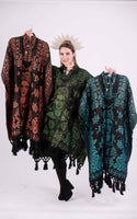 Poncho Black / Kelly Green Mexican Frida Kahlo Shimmering Poncho