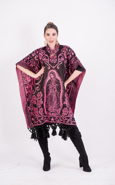 Poncho Black / Pink Our Lady of Guadalupe Shimmering Poncho