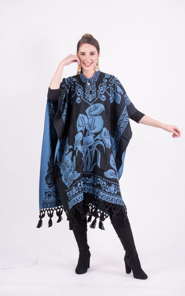 Poncho Black / Winter Blue Mexican Poncho Alcatraz Floral Fringed Serape