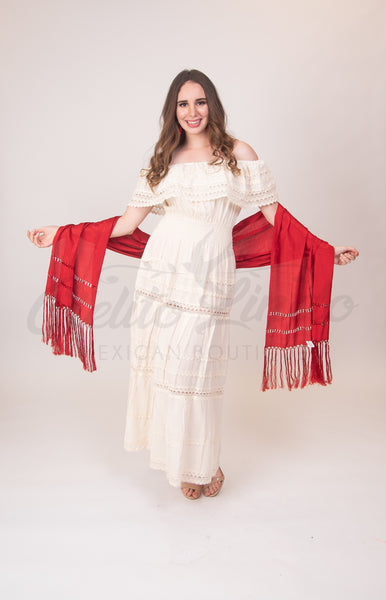 Red Mexican Silky Shawls