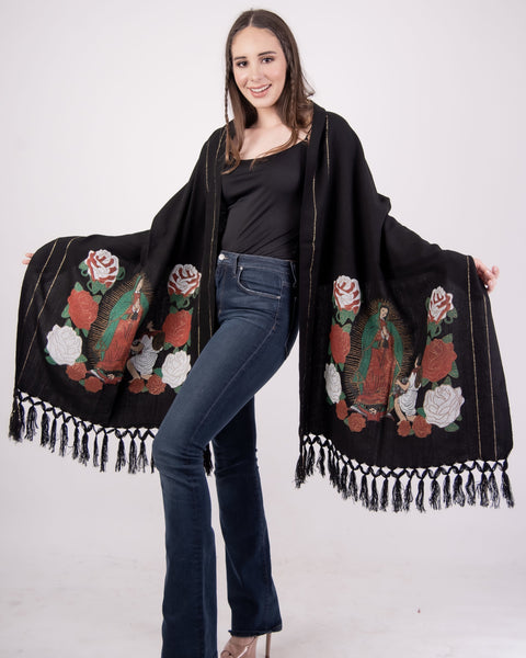 Shawl Black Our Lady of Guadalupe Shawl Black